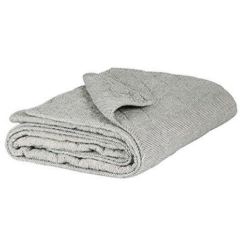 IB Laursen - Quilt, Decke, Kuscheldecke, Tagesdecke - Farbe: Weiß-Grau gestreift - 180 x 130 cm - 100% Baumwolle