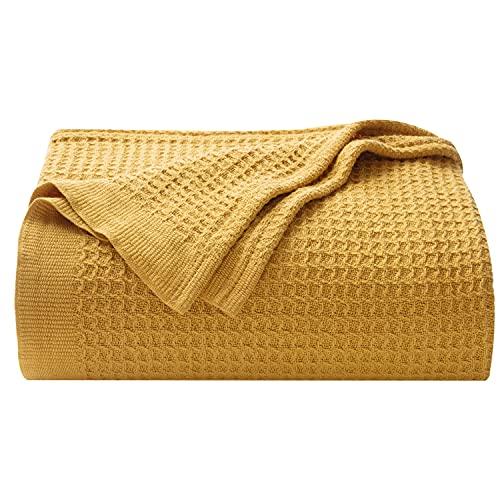 BEDSURE Baumwolle Decke Sommer Tagesdecke – dünne Sommerdecke leichte Kuscheldecke, Universale Baumwolldecke Sofadecke Couchdecke Gelb 150x200 cm