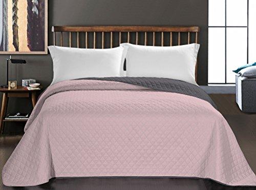 DecoKing Tagesdecke 220 x 240 cm lila Graphit anthrazit grau Bettüberwurf zweiseitig Steppung pflegeleicht Axel
