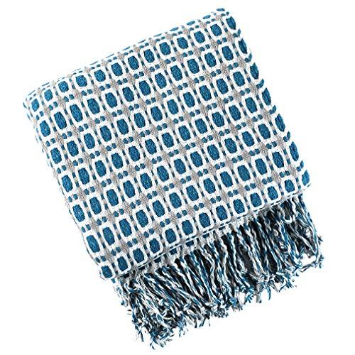 XIAKE Kuscheldecke Decke Sofa Stricken Wohndecke Karo Wendedecke Marineblau Karierte Dekoration 130x240cm