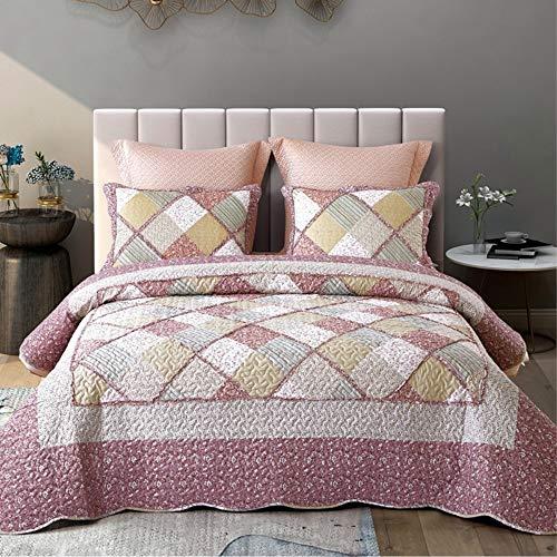 Topmail 3 Teilig Tagesdecke 220x240cm Bettwäsche Set Sanft Bettüberwurf Steppdecke Rosa für Doppelbett mit 2 Kissenbezug
