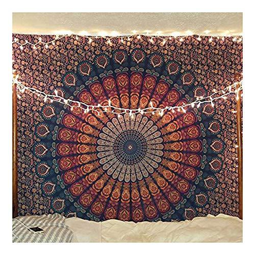 raajsee Tapisserie Hippie Mandala Wandbehang blau orange indische Baumwolle Überwurf Tapisserie/Boho Blue Tapestries Hippie/Bohemian Bedding Queen Tagesdecke Yoga Mat Rugs (140 x 210 cm)
