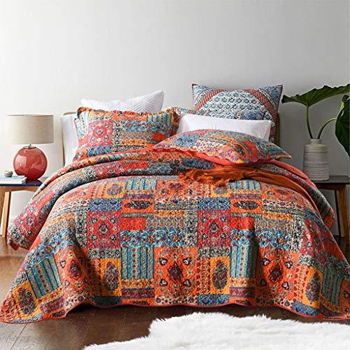 Qucover Tagesdecke Shabby chic 220 x 240 cm Patchwork Bettüberwurf 230x250 aus Baumwolle Gesteppte Decke für Doppelbett mit Kissen in Landhausstil