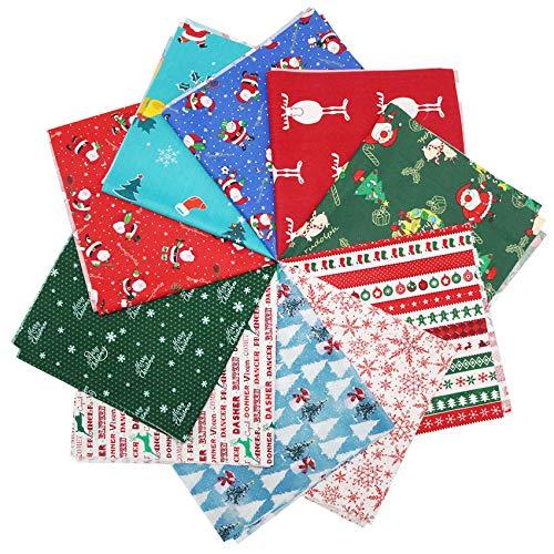 JEEBAY 10 Stücke Weihnachten Muster Baumwollstoff Meterware Stoffe zum Nähen Stoffreste Stoffpaket 100% Baumwolle Patchwork für DIY Fertigkeit Baumwolltuch zum Quilten,50×50cm