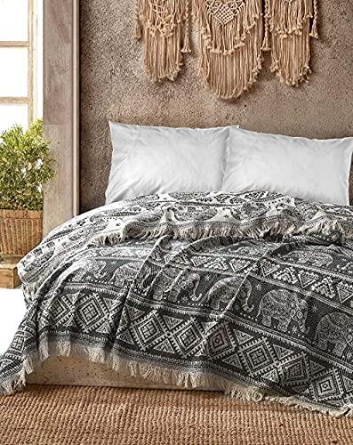 BOHORIA® Premium Tagesdecke Bali | 100% Baumwolle | Oeko-Tex® | Bettüberwurf Wohndecke Wendedecke Sofadecke mit Muster | extra-groß 220 x 240 cm (Elephant)