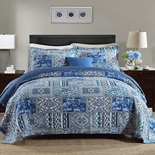 Qucover Tagesdecke Patchwork 220x240cm, Blau Bettüberwurf für Doppelbett Vintage Stil, Gesteppte Sommerdecke mit Kissen Set, aus Baumwolle & Polyester, Shabby chic