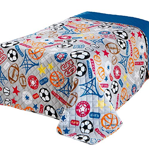 Delindo Lifestyle Kinderzimmer Tagesdecke Bettüberwurf Sports, für Kinder Einzelbett, für Mädchen und Jungen, 170x210 cm