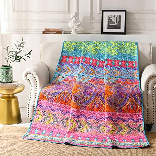 Qucover Tagesdecke 150 x 200 cm Bunte Gesteppte Decke aus Mikrofaser Bettüberwurf für Einzelbett Sofaüberwurf Boho Indische Exotik