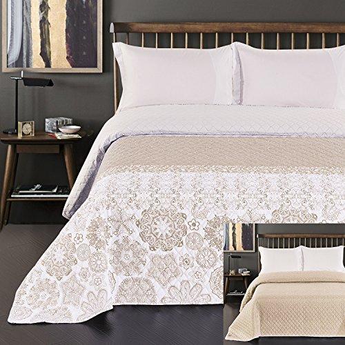 DecoKing Tagesdecke 170 x 210 cm beige weiß Cappuccino Bettüberwurf mit abstraktem Muster zweiseitig pflegeleicht Alhambra
