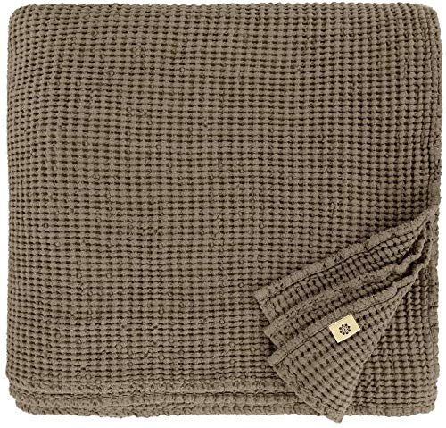 Linen & Cotton Plaid Decke Sommer Tagesdecke Waffelpique Enzo - 48% Leinen, 52% Baumwolle, Taupe (150 x 210 cm) Leinendecke Baumwolldecke Wohndecke Blanket Überwurf Bett Bettwäsche Bettüberwurf